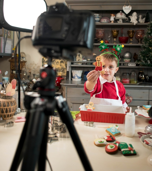 Child Food Vlogger making a video - Christmas Time