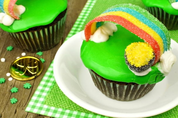 Rainbow pot of gold St Patricks Day cupcake